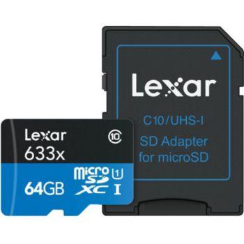 Lexar Carte Micro-SDXC 64 Go 633x avec adaptat
