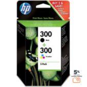 Cartouche d'encre HP 300 noire + couleurs