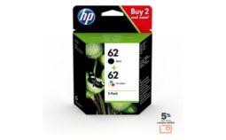 Cartouche d'encre HP 62 noire + 3 couleurs