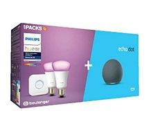 Ampoule connectée Philips  Pack Hue/Amazon Starter kit