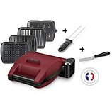 Croque, gaufre, gaufrette, gril Lagrange  Premium rouge 4 plaques - Pic et spatule