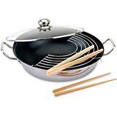 Poêle wok Baumalu inox diam 32 cm induction 341862