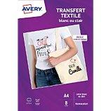 Papier créatif Avery  8 Transferts T-shirt blancs/clairs A4