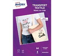 Papier Creatif Avery 8 Transferts T Shirt Blancs Clairs A4