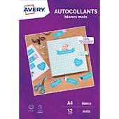 Papier créatif Avery 12 Autocollants 19.96x28.91cm mates