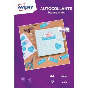 Avery 12 Autocollants 19.96x28.91cm mates
