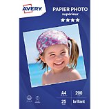 Papier photo Avery  25 Photos brillantes A4 200g/m²
