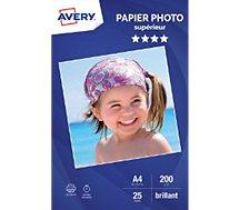 Papier photo Avery  25 Photos brillantes A4 200g/m²