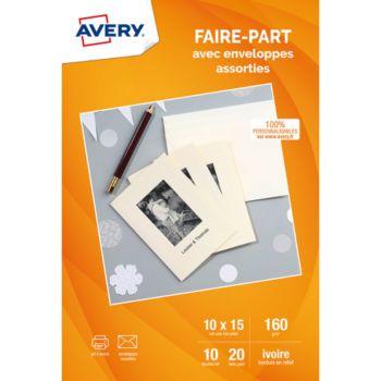 Avery 20 Cartes faire-part ivoire A6+20 env