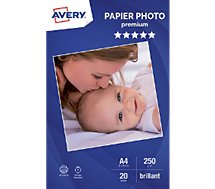 Papier photo Avery  20 Photos brillantes A4 250g/m²