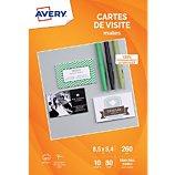 Papier créatif Avery  80 Cartes de visite 85x54mm mates 260g