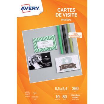 Avery 80 Cartes De Visite 85x54mm Mates 260g