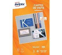 Papier créatif Avery 40 Cartes de visite 85x54mm recto brilla