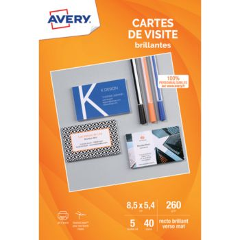 Avery 40 Cartes De Visite 85x54mm Recto Brilla