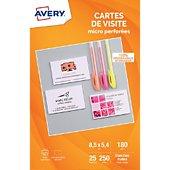 Papier créatif Avery 250 Cartes de visite 85x54mm 185g/m²