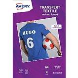Papier créatif Avery  4 Transferts T-shirt noirs/foncés A4