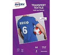 Papier Creatif Avery 4 Transferts T Shirt Noirs Fonces A4