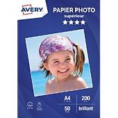 Papier photo Avery 50 Photos brillantes A4 200g/m²