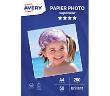 Papier photo Avery  50 Photos brillantes A4 200g/m²