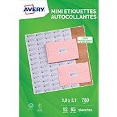 Papier créatif Avery 780 Mini-etiquettes 38,1x21,2mm mates