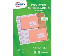 Etiquette Avery Etiquettes adressage 63.5x38.1mm