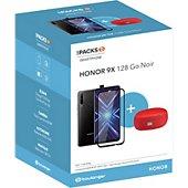 Smartphone Honor Pack 9X Noir + Enceinte + Verre trempé