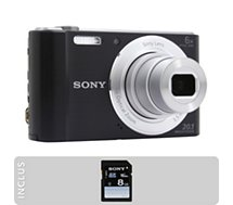 Appareil photo Compact Sony Pack DSC-W810 noir + SD 8Go