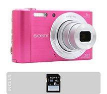 Appareil photo Compact Sony Pack DSC-W810 Rose + SD 8Go