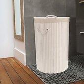 Panier à linge Compactor Rond pliable Bambou blanc