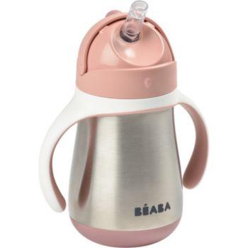 Beaba paille inox 250 ml - old pink