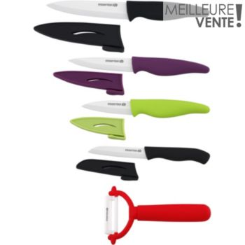 Essentielb 4 couteaux + 1 éplucheur lame céramique