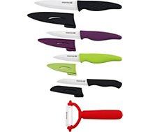 Coffret couteau Essentielb  4 couteaux + 1 éplucheur lame céramique