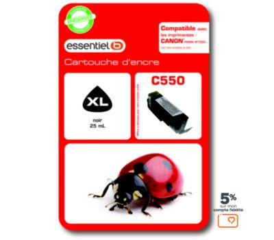 Cartouche d'encre Essentielb C550 XL Noire Série Coccinelle
