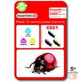 Cartouche d'encre Essentielb C551 XL 3couleurs - Série Coccinelle