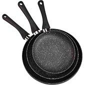 Batterie de cuisine Essentielb 3 poêles Pietra Black diam20/24/28cm