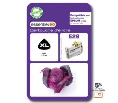 Cartouche d'encre Essentielb E29XL Noir Série Chou rouge