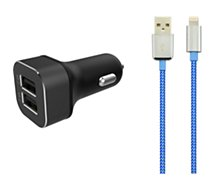 Chargeur allume-cigare Essentielb USB + Cable lightning textile bleu/blanc