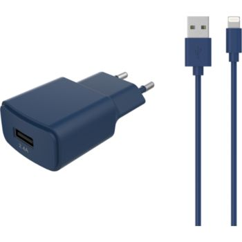 Essentielb USB 2,4A + Cable lightning bleu nuit