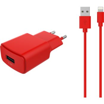Essentielb USB 2,4A + Cable lightning rouge