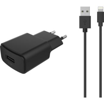Essentielb USB 2,4A + Cable lightning noir
