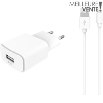 Essentielb USB 2,4A + Cable lightning blanc