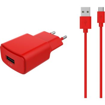 Essentielb USB 2,4A + Cable Micro-USB rouge