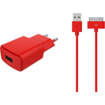 Essentielb USB 2,4A + cable 30 broches rouge