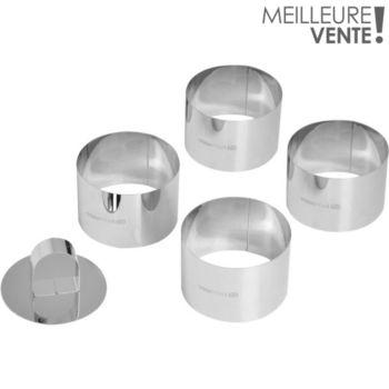 Essentielb 4 cercles inox diam 7.5 cm + 1 poussoir