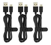 Câble USB C Essentielb  PVC USB-C: 3 x 1m noir
