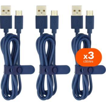 Essentielb pack de 3 cables 1m bleu