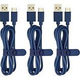 Câble micro USB Essentielb  pack de 3 cables 1m bleu
