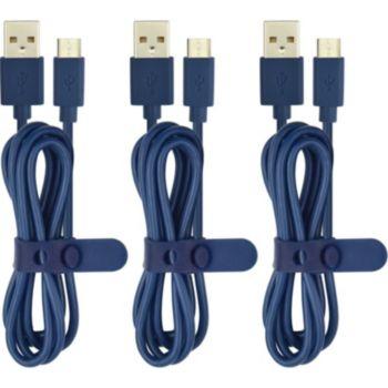 Essentielb PVC MicroUSB: 3 x 1m bleu
