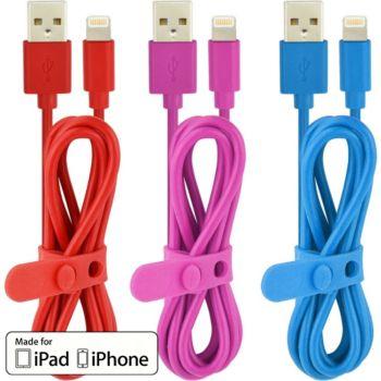 Essentielb Pack de 3 cables 1m bleu rouge rose