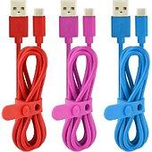 Câble USB C Essentielb Pack de 3 câbles 1m rouge rose bleu